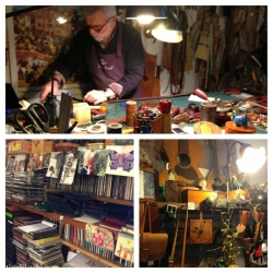 Found an artisanal genuine leather store in Pienza, where we found (let's call him) Giuseppe in action. We talked about his CD collection -- which included Haydn and mostly classical music, with a couple of Joni Mitchell and Billie Holiday CDs -- and his gorgeous work. Super cool.