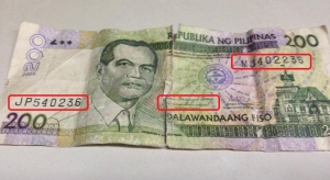 Take note of fake notes: Two completely different serial numbers on the same bill; and former-President Gloria Macapagal-Arroyo's signature.