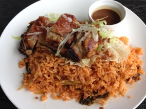 Asian Crackling Pork Belly with Kimchi Rice