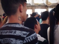 The Minor Basilica of the Black Nazarene. This guy was contradiction upon contradiction: Hello Kitty neck tattoo, in full punk-rocker regalia, fervently hearing mass at the Quiapo Church. Punks never die! They ascend unto heaven to enjoy eternal life!