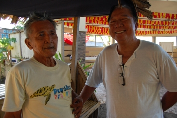 Pawikan Conservation Center volunteers - Mang Arturo (a former poacher) and Chairman Manolo Ibias